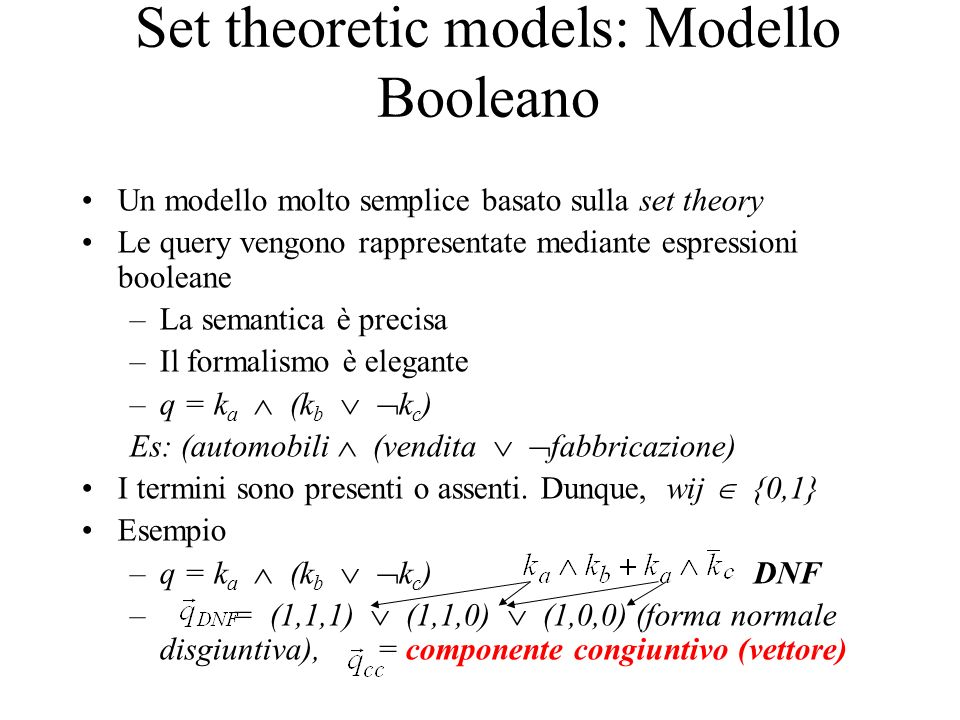 Set theoretic models: Modello Booleano