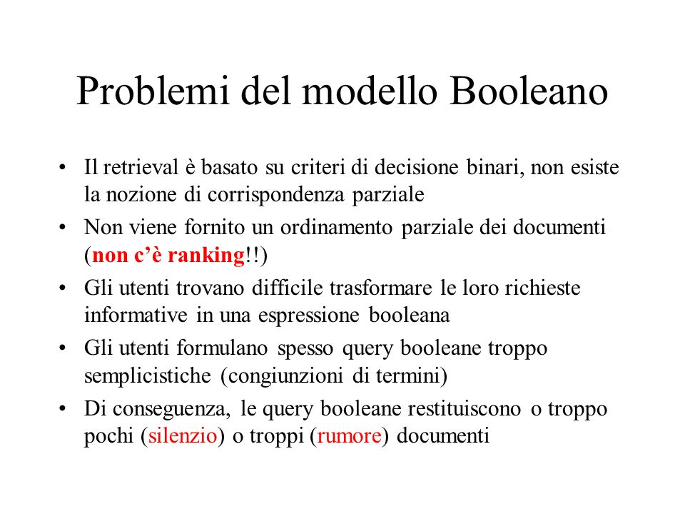 Problemi del modello Booleano