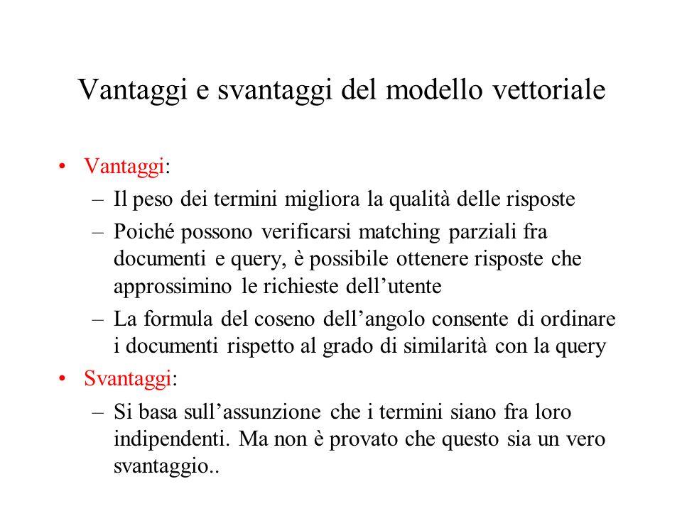 Vantaggi e svantaggi del modello vettoriale