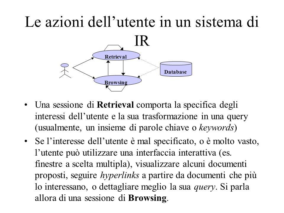 Le azioni dell'utente in un sistema di IR
