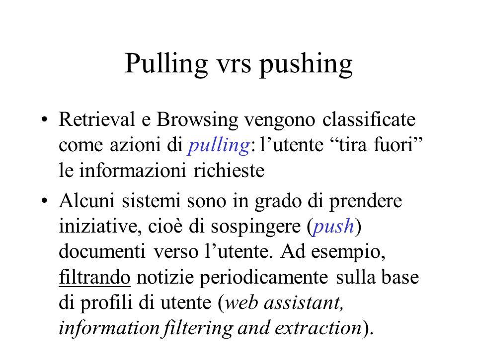 Pulling vrs pushing Retrieval e Browsing vengono classificate come azioni di pulling: l'utente tira fuori le informazioni richieste.