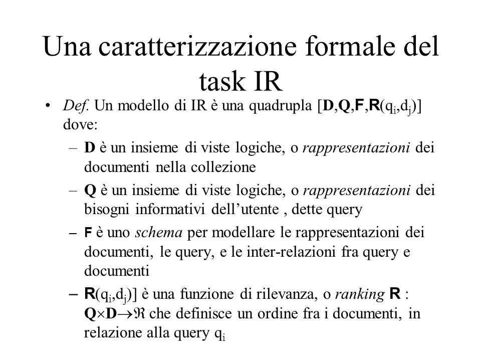 Una caratterizzazione formale del task IR