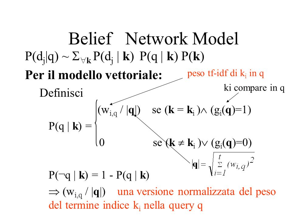 Belief Network Model P(dj|q) ~ k P(dj | k) P(q | k) P(k)