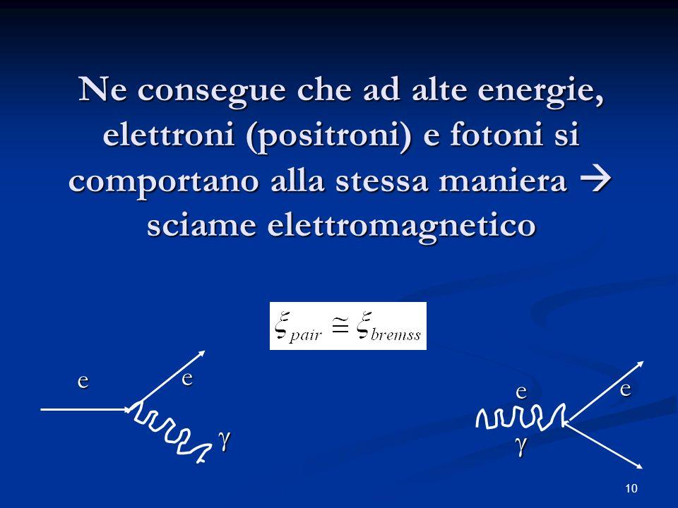 Ne consegue che ad alte energie, elettroni (positroni) e fotoni si comportano alla stessa maniera  sciame elettromagnetico