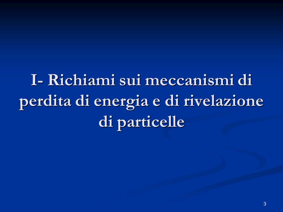 I- Richiami sui meccanismi di perdita di energia e di rivelazione di particelle