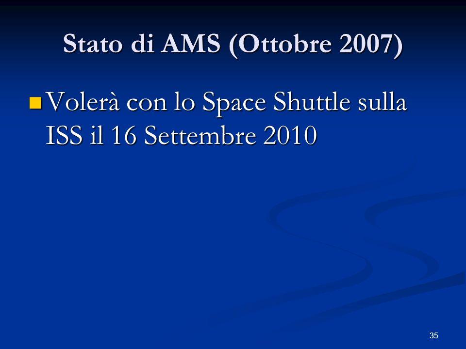 Stato di AMS (Ottobre 2007) Volerà con lo Space Shuttle sulla ISS il 16 Settembre 2010