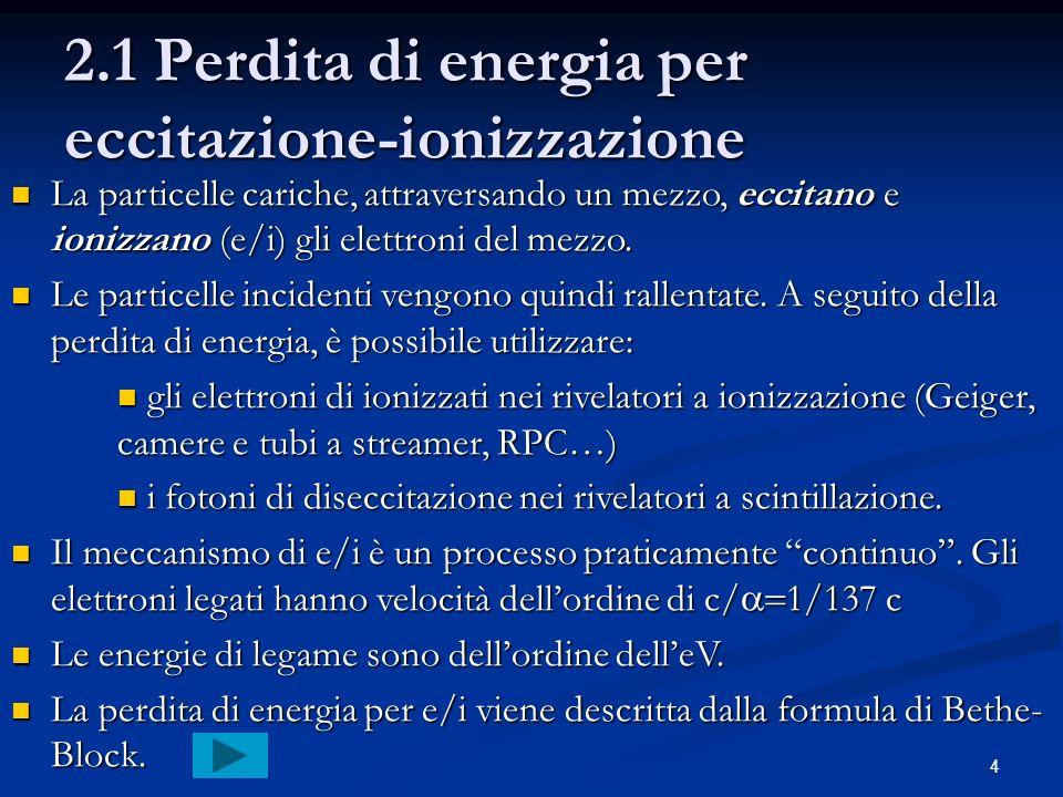 2.1 Perdita di energia per eccitazione-ionizzazione