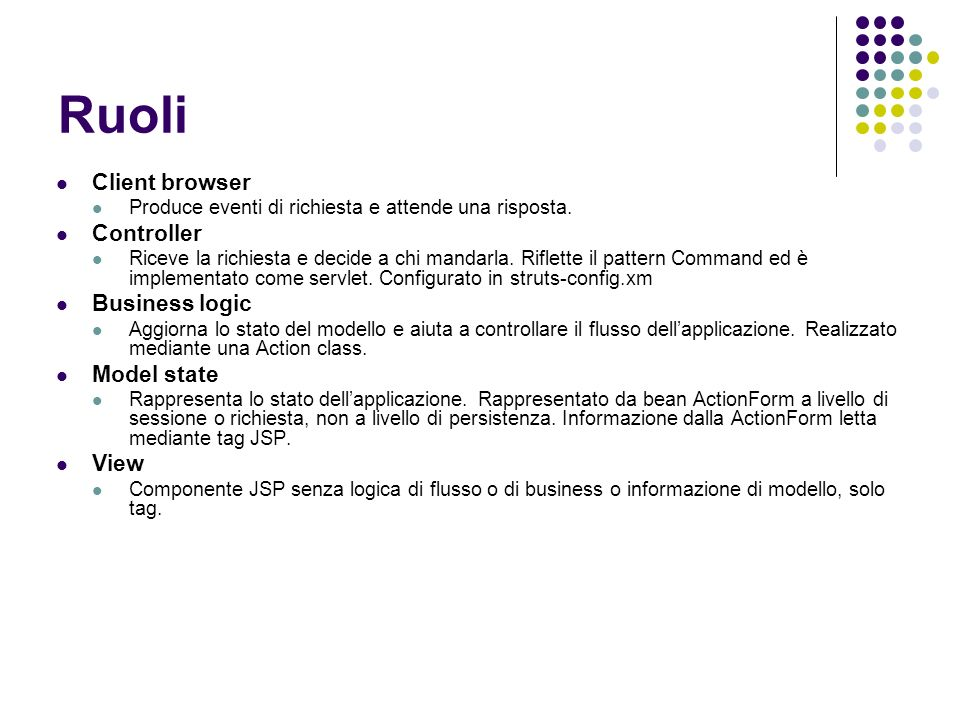 Ruoli Client browser Controller Business logic Model state View