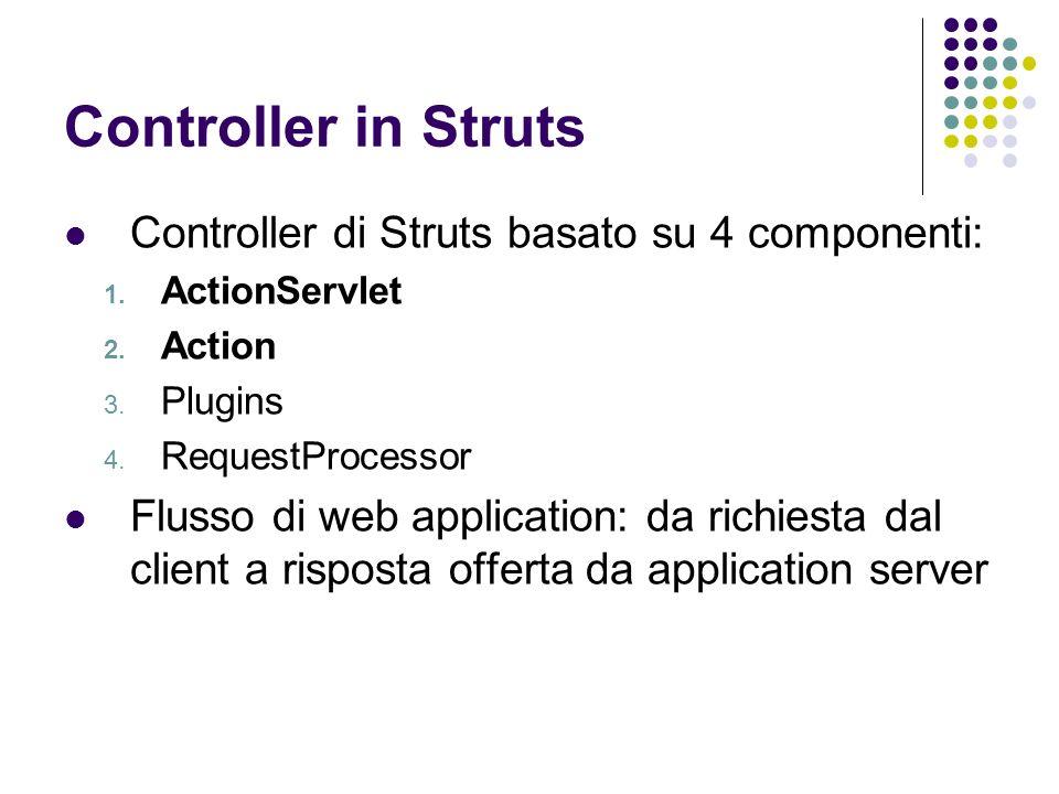 Controller in Struts Controller di Struts basato su 4 componenti: