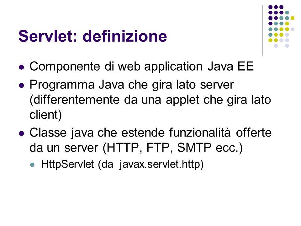 Servlet: definizione Componente di web application Java EE