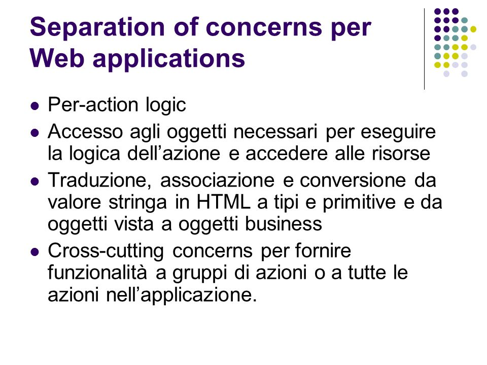 Separation of concerns per Web applications