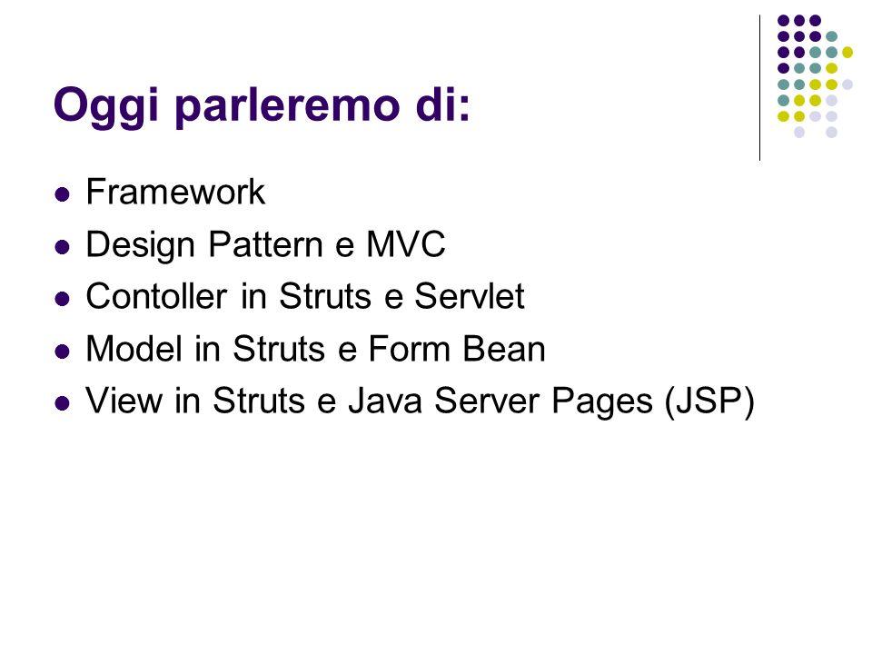 Oggi parleremo di: Framework Design Pattern e MVC