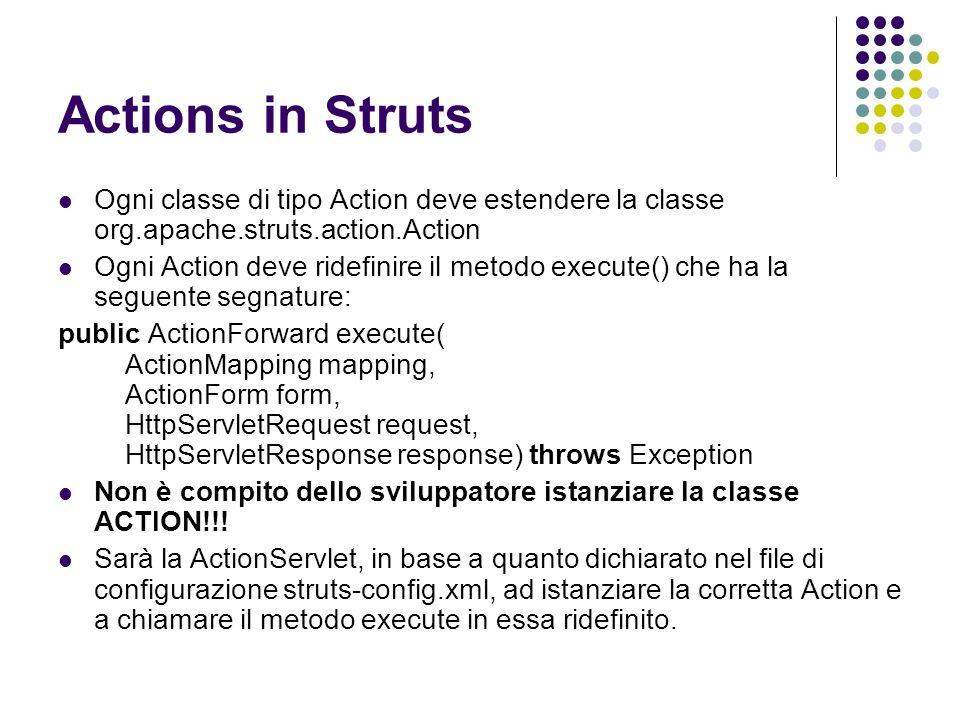Actions in Struts Ogni classe di tipo Action deve estendere la classe org.apache.struts.action.Action.