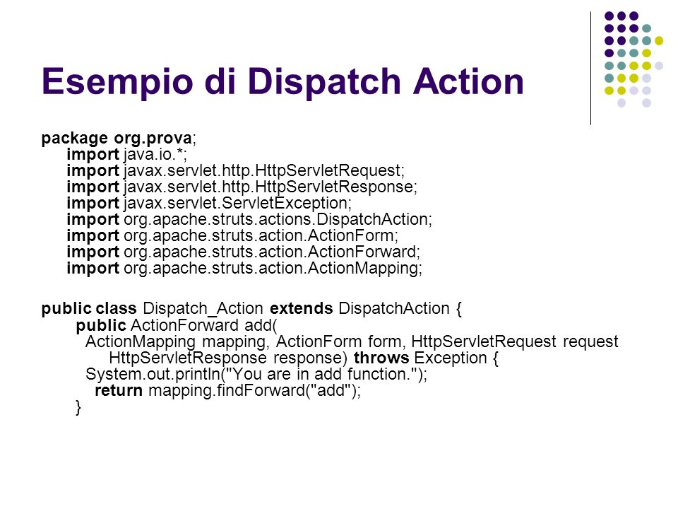 Esempio di Dispatch Action