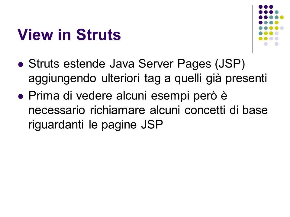 View in Struts Struts estende Java Server Pages (JSP) aggiungendo ulteriori tag a quelli già presenti.