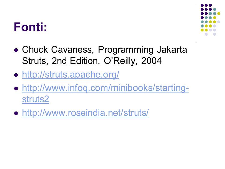 Fonti: Chuck Cavaness, Programming Jakarta Struts, 2nd Edition, O'Reilly, 2004. http://struts.apache.org/