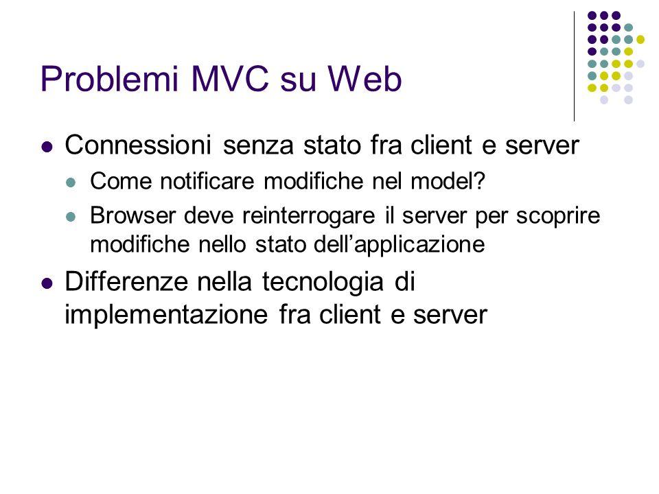Problemi MVC su Web Connessioni senza stato fra client e server