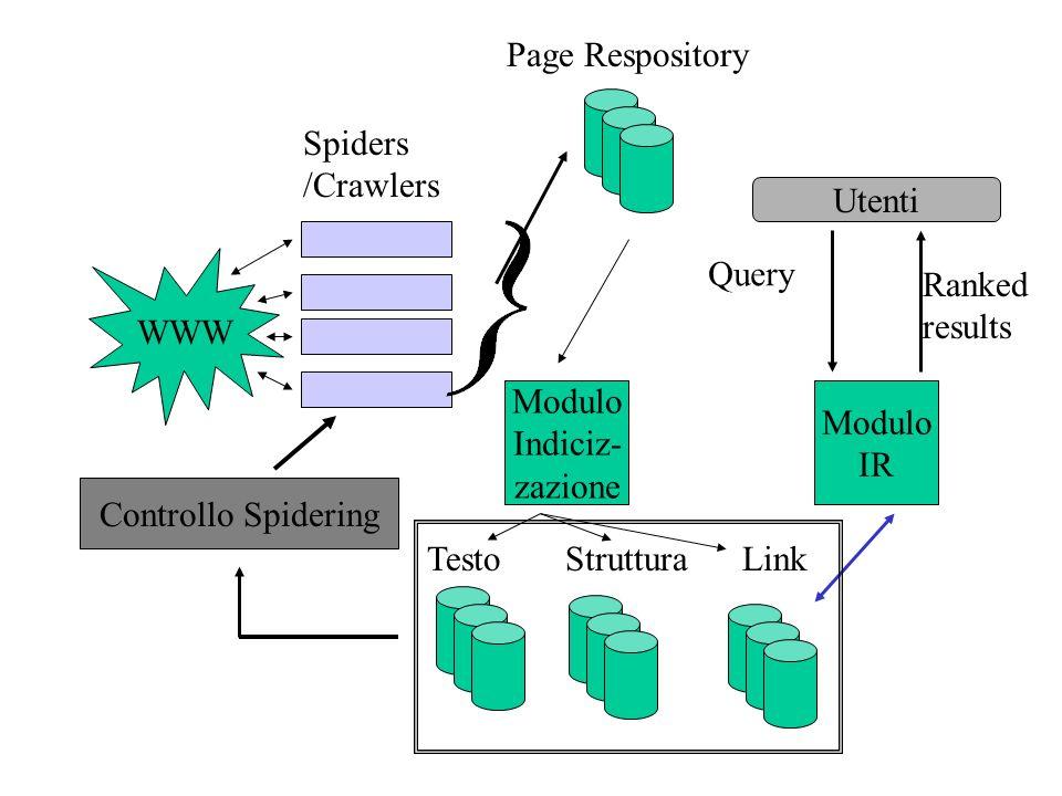 WWW Spiders. /Crawlers. Page Respository. Modulo. IR. Indiciz- zazione. Testo Struttura Link.