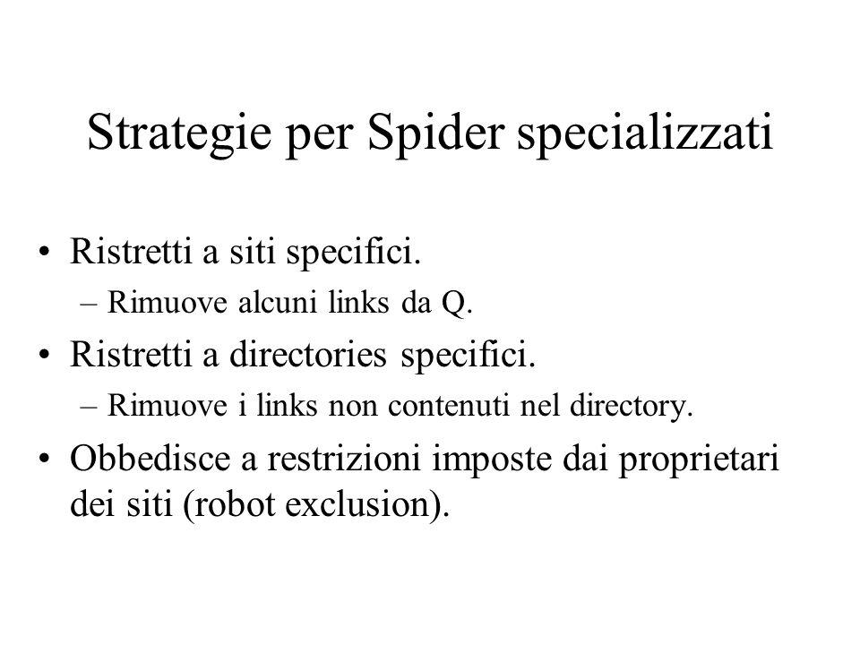 Strategie per Spider specializzati