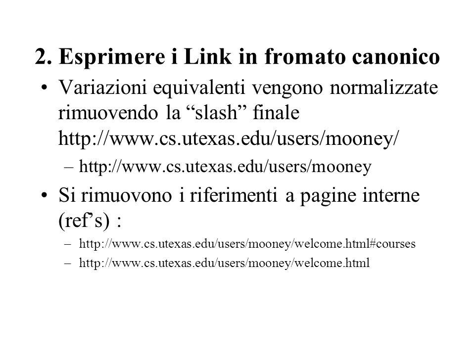 2. Esprimere i Link in fromato canonico