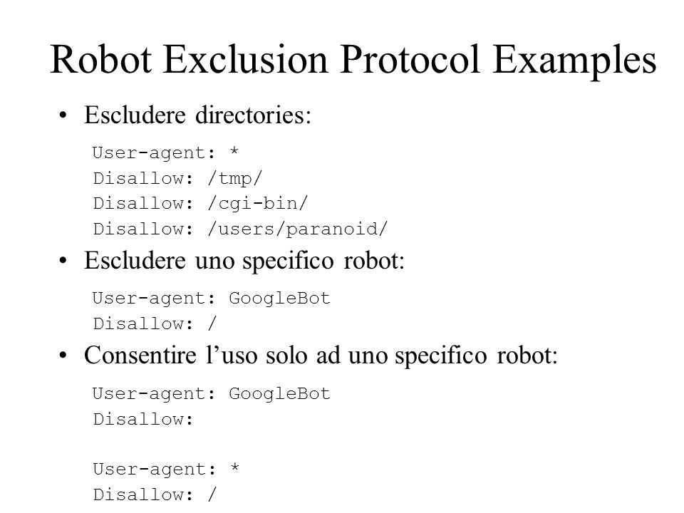 Robot Exclusion Protocol Examples