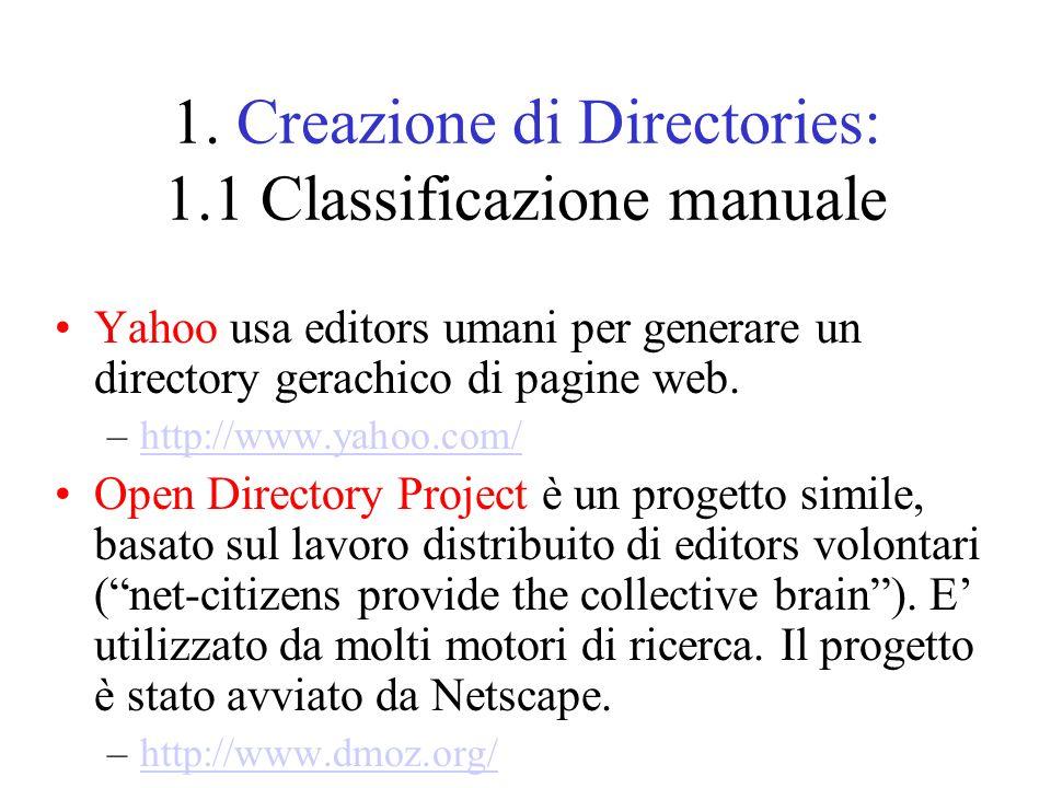 1. Creazione di Directories: 1.1 Classificazione manuale