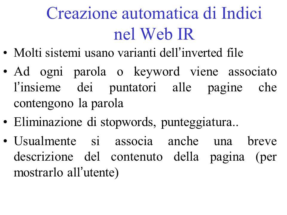 Creazione automatica di Indici nel Web IR
