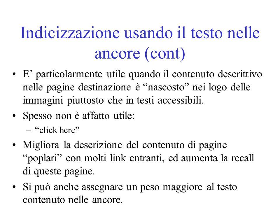 Indicizzazione usando il testo nelle ancore (cont)
