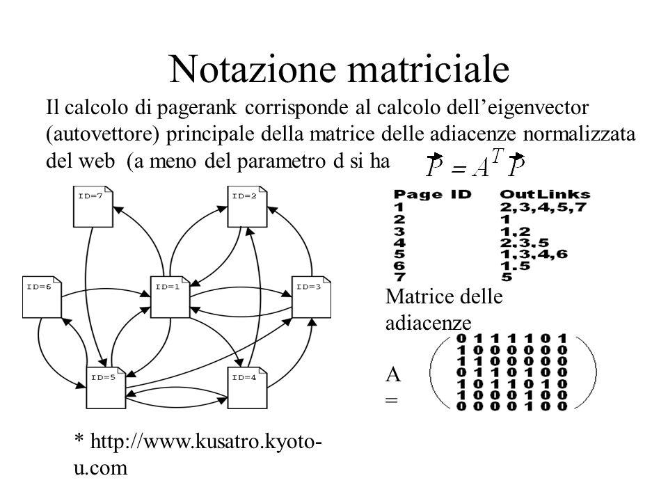 Notazione matriciale Il calcolo di pagerank corrisponde al calcolo dell'eigenvector.
