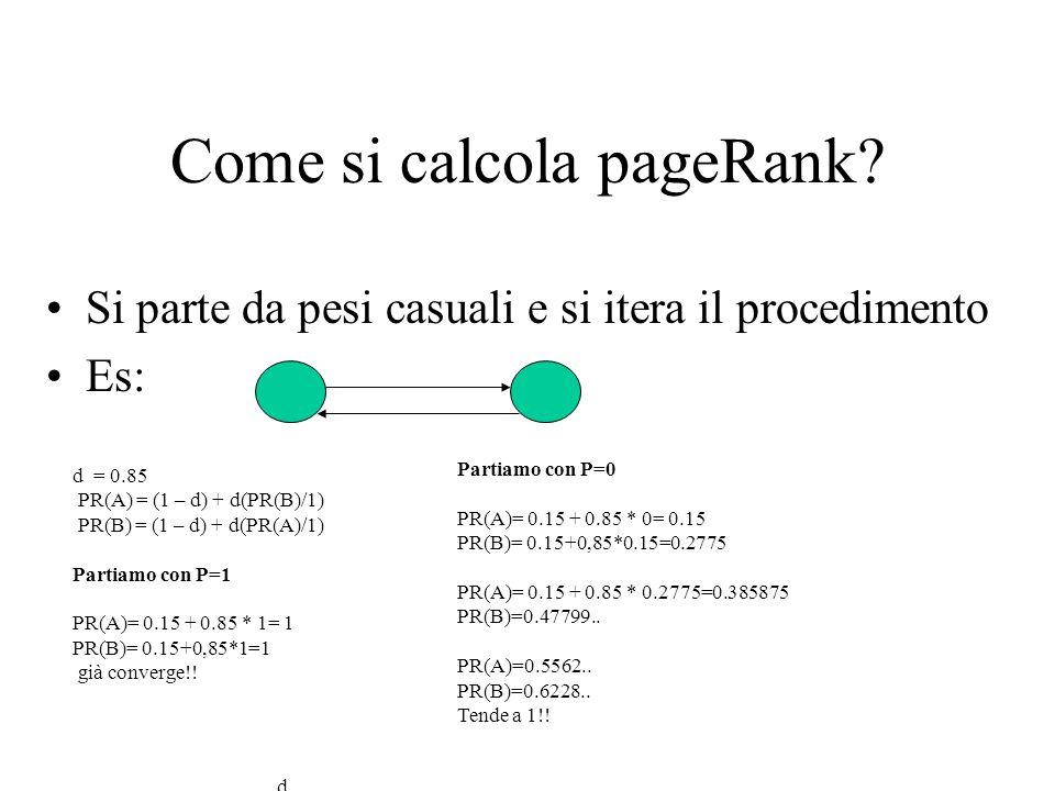 Come si calcola pageRank