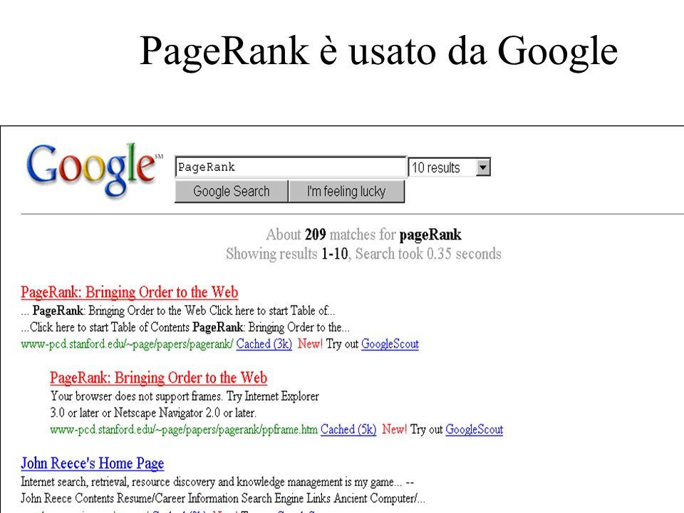 PageRank è usato da Google