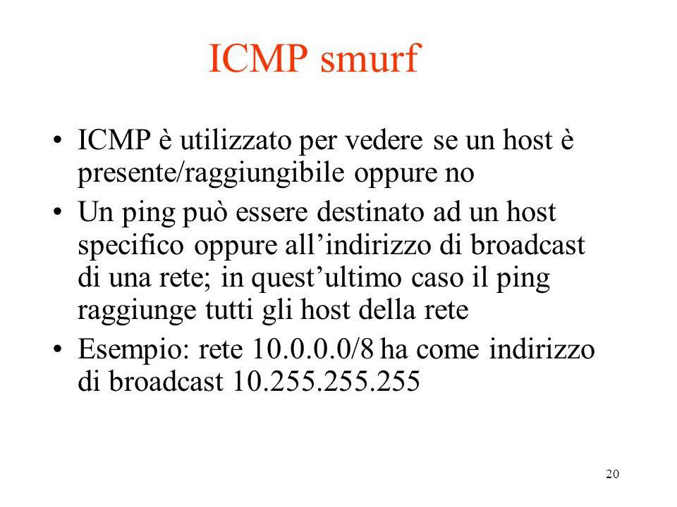 ICMP smurf ICMP è utilizzato per vedere se un host è presente/raggiungibile oppure no.