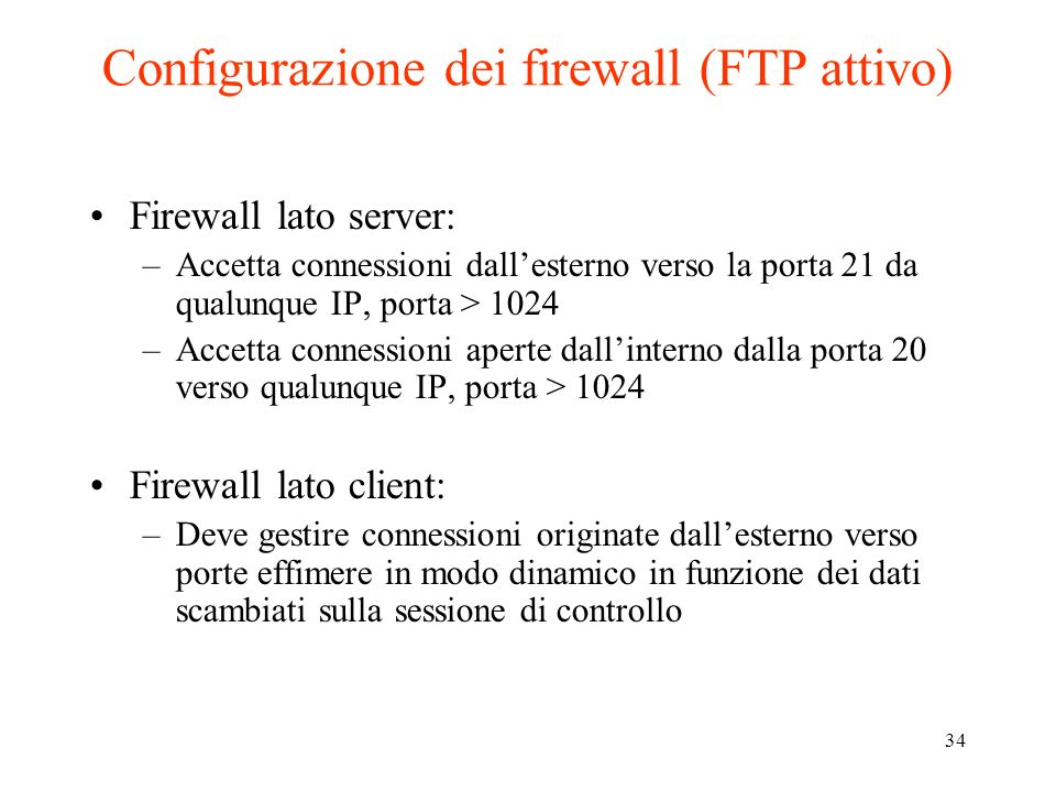 Configurazione dei firewall (FTP attivo)