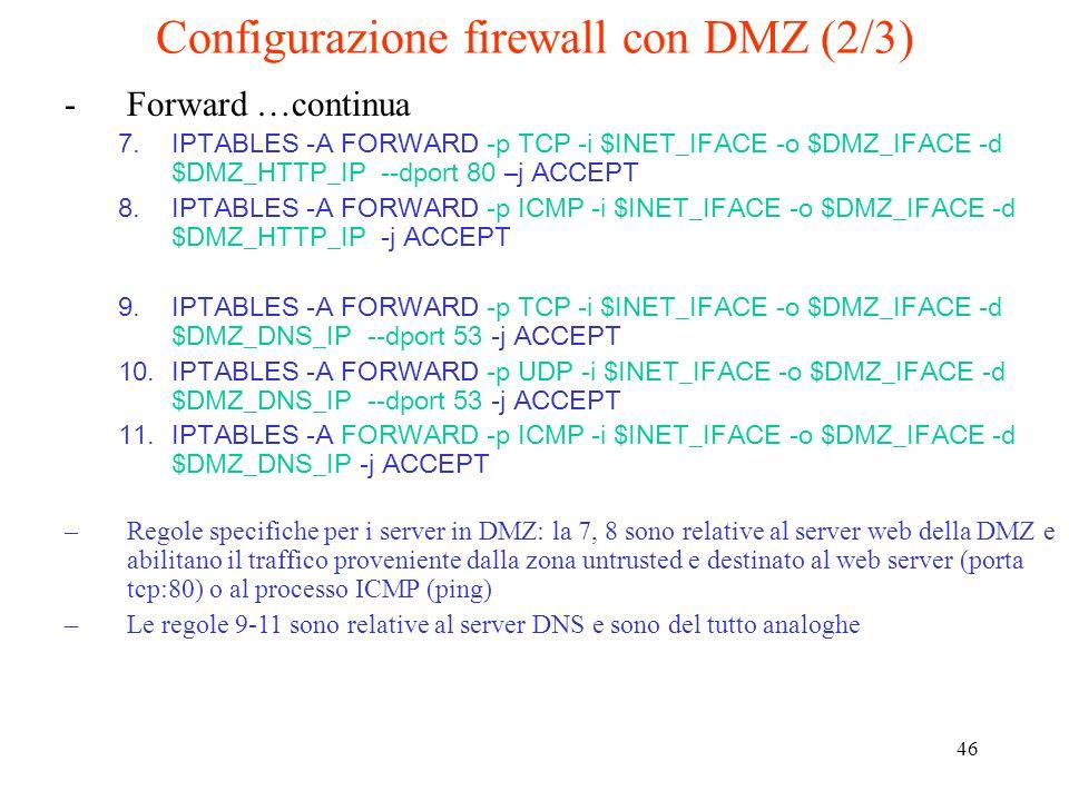 Configurazione firewall con DMZ (2/3)
