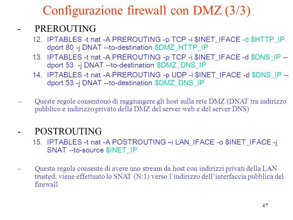Configurazione firewall con DMZ (3/3)