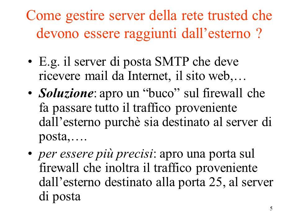 Come gestire server della rete trusted che devono essere raggiunti dall'esterno
