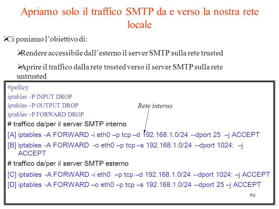 Apriamo solo il traffico SMTP da e verso la nostra rete locale