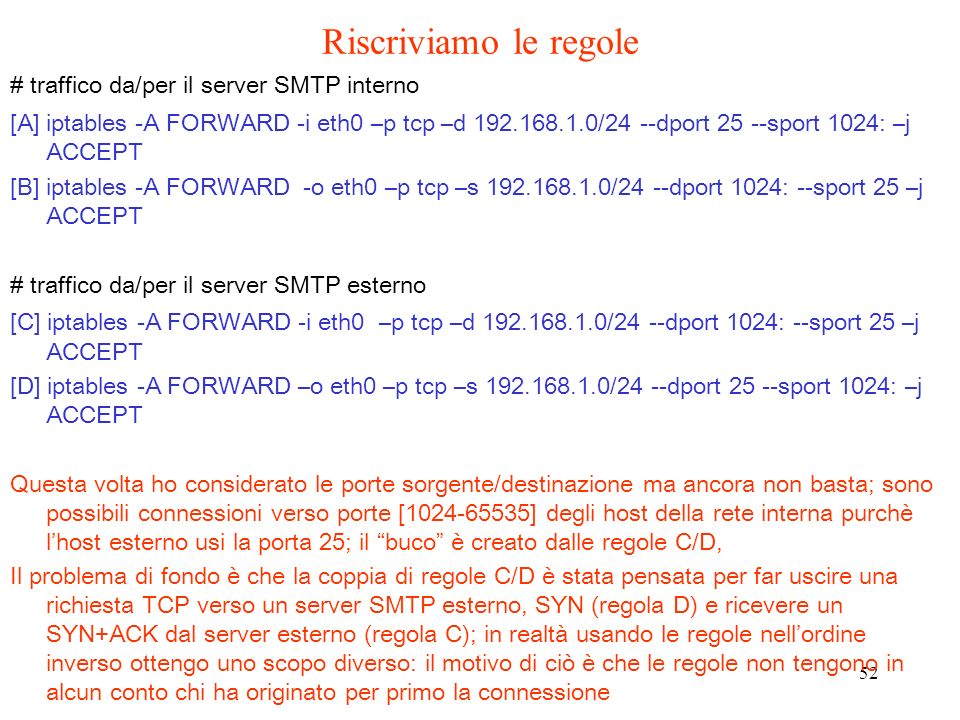 Riscriviamo le regole # traffico da/per il server SMTP interno