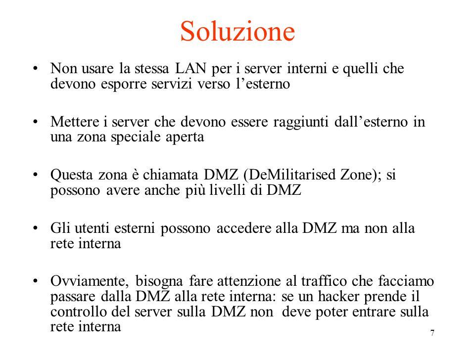 Soluzione Non usare la stessa LAN per i server interni e quelli che devono esporre servizi verso l'esterno.