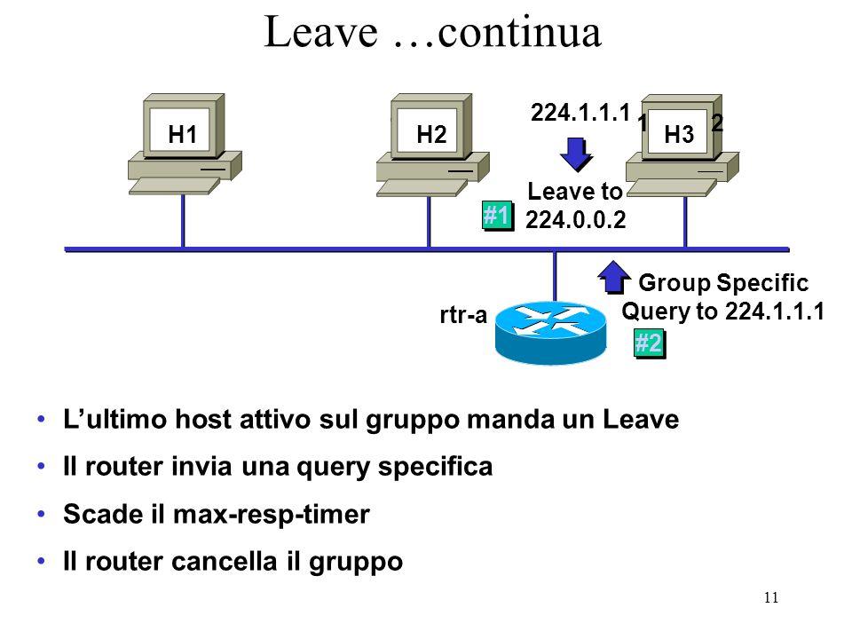 Leave …continua L'ultimo host attivo sul gruppo manda un Leave