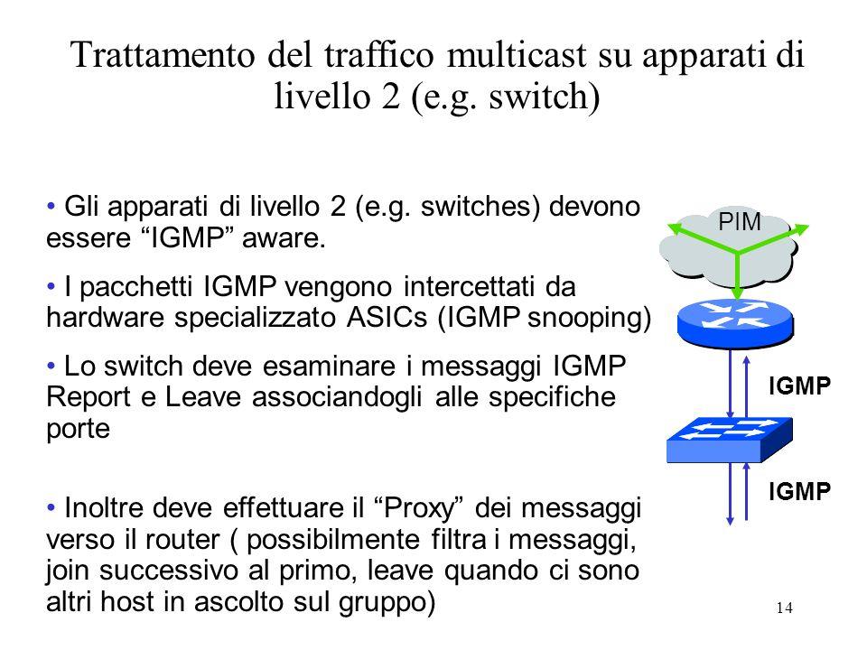 Trattamento del traffico multicast su apparati di livello 2 (e. g