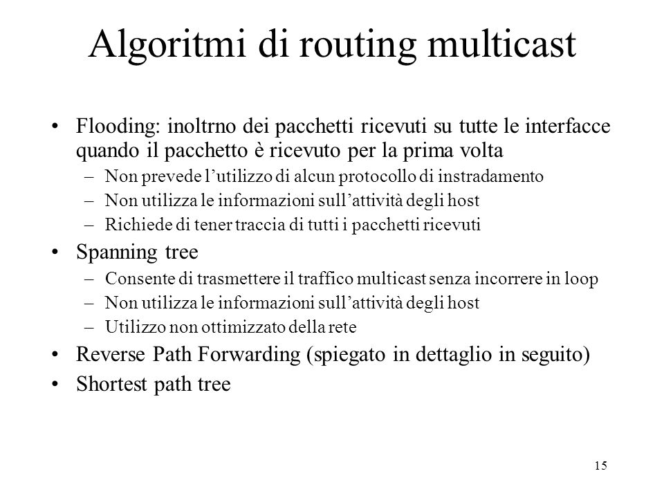 Algoritmi di routing multicast