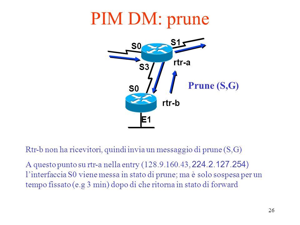PIM DM: prune Prune (S,G) S1 S0 rtr-a S3 S0 rtr-b E1