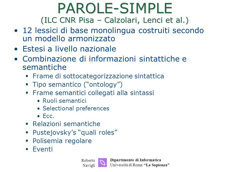 PAROLE-SIMPLE (ILC CNR Pisa – Calzolari, Lenci et al.)