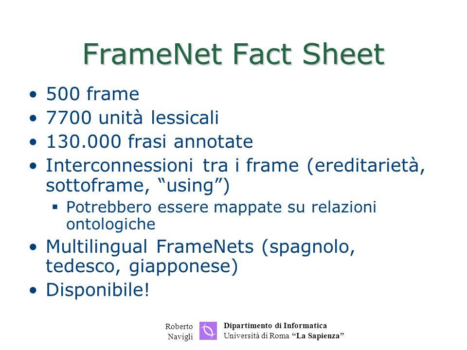 FrameNet Fact Sheet 500 frame 7700 unità lessicali
