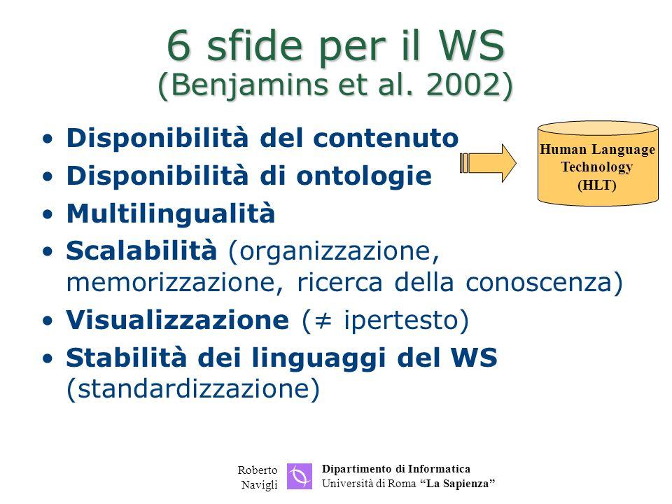 6 sfide per il WS (Benjamins et al. 2002)