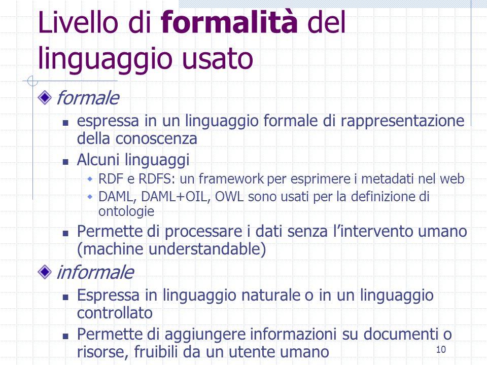 Livello di formalità del linguaggio usato