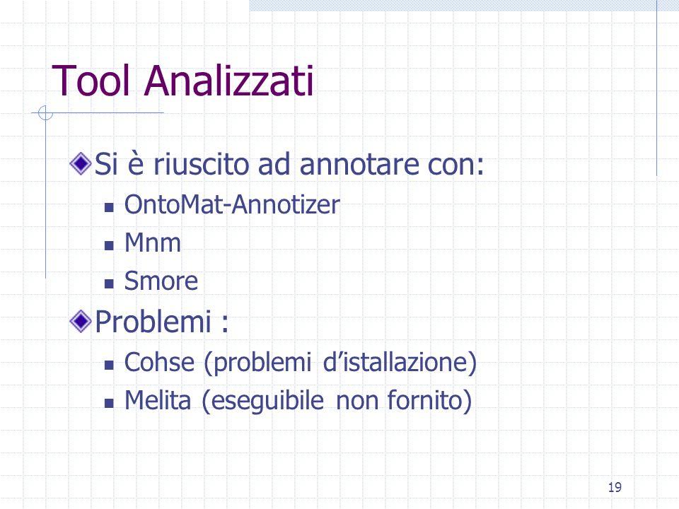 Tool Analizzati Si è riuscito ad annotare con: Problemi :