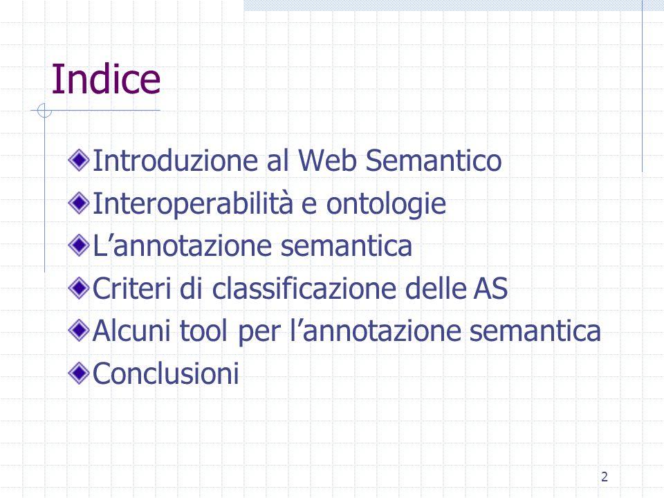 Indice Introduzione al Web Semantico Interoperabilità e ontologie