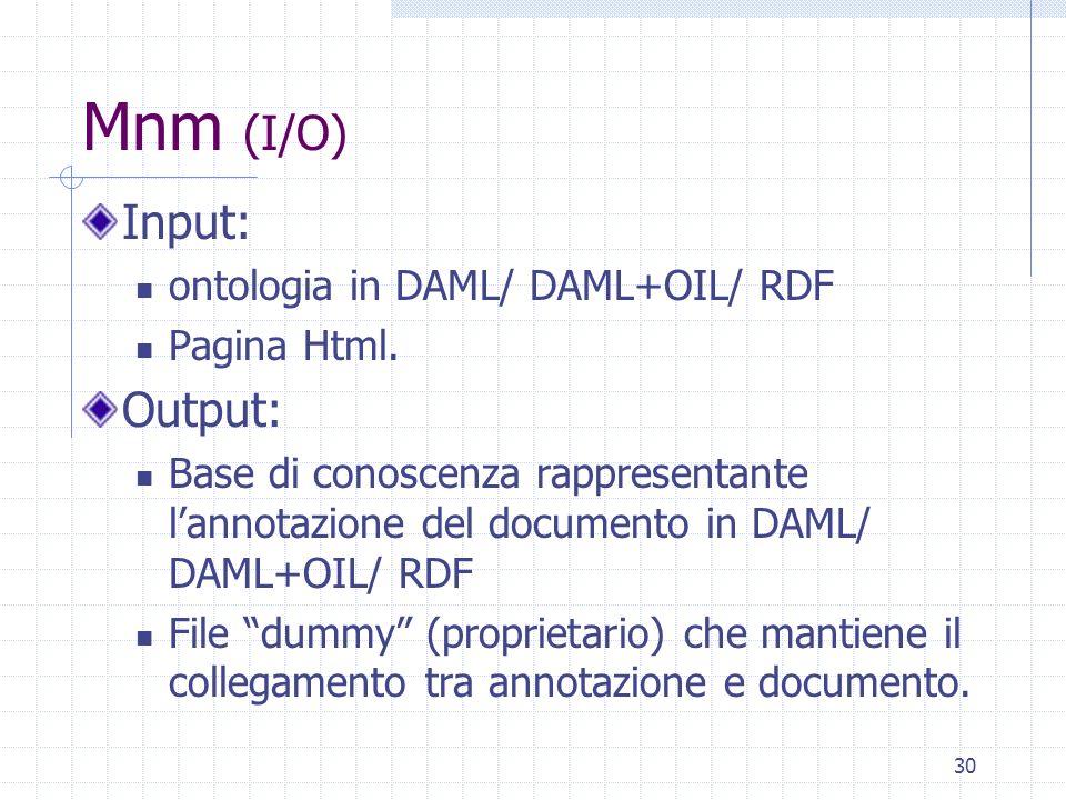 Mnm (I/O) Input: Output: ontologia in DAML/ DAML+OIL/ RDF Pagina Html.